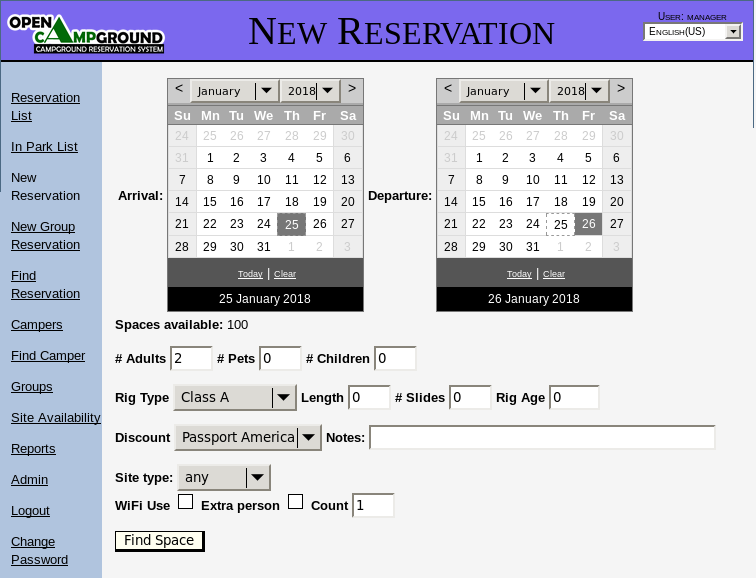 New Reservation screenshot