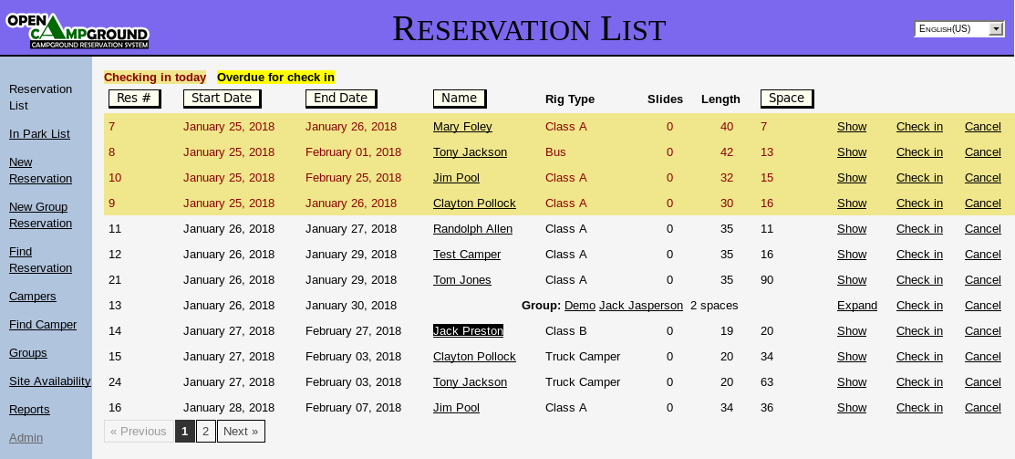 Reservation List screenshot